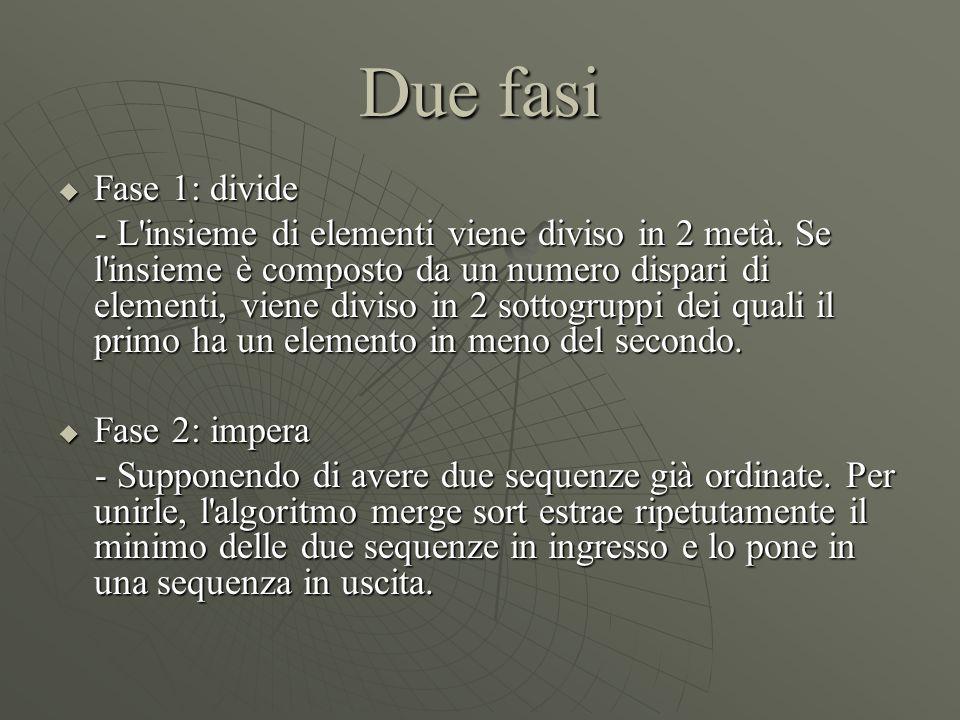 Due fasi  Fase 1: divide - L'insieme di elementi viene diviso in 2 metà. Se l'insieme è composto da un numero dispari di elementi, viene diviso in 2