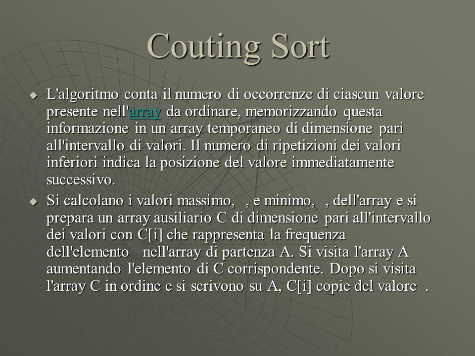 Couting Sort  L'algoritmo conta il numero di occorrenze di ciascun valore presente nell'array da ordinare, memorizzando questa informazione in un arr