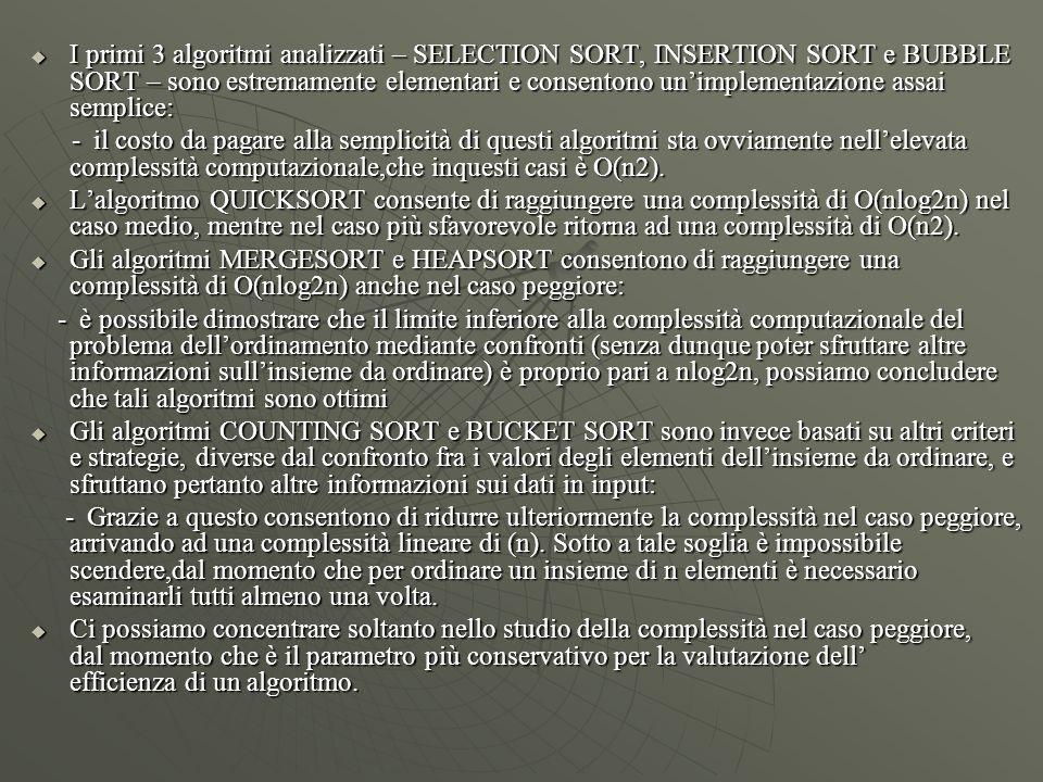  I primi 3 algoritmi analizzati – SELECTION SORT, INSERTION SORT e BUBBLE SORT – sono estremamente elementari e consentono un'implementazione assai s