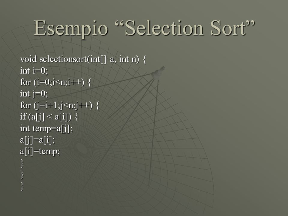 Esempio Selection Sort void selectionsort(int[] a, int n) { int i=0; for (i=0;i<n;i++) { int j=0; for (j=i+1;j<n;j++) { if (a[j] < a[i]) { int temp=a[j]; a[j]=a[i];a[i]=temp;}}}