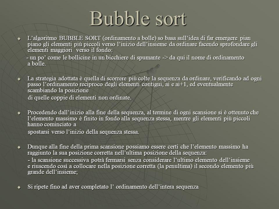 Bubble sort  L'algoritmo BUBBLE SORT (ordinamento a bolle) so basa sull'idea di far emergere pian piano gli elementi più piccoli verso l'inizio dell'