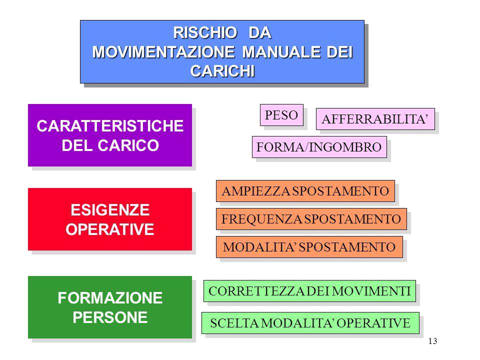 13 RISCHIO DA RISCHIO DA MOVIMENTAZIONE MANUALE DEI CARICHI MOVIMENTAZIONE MANUALE DEI CARICHI RISCHIO DA RISCHIO DA MOVIMENTAZIONE MANUALE DEI CARICH
