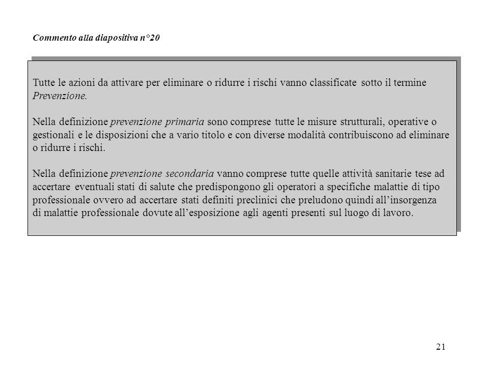 21 Commento alla diapositiva n°20 Tutte le azioni da attivare per eliminare o ridurre i rischi vanno classificate sotto il termine Prevenzione. Nella