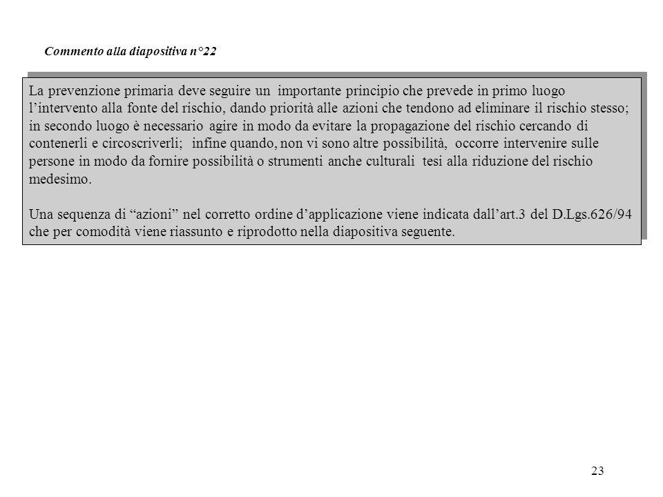 23 Commento alla diapositiva n°22 La prevenzione primaria deve seguire un importante principio che prevede in primo luogo l'intervento alla fonte del