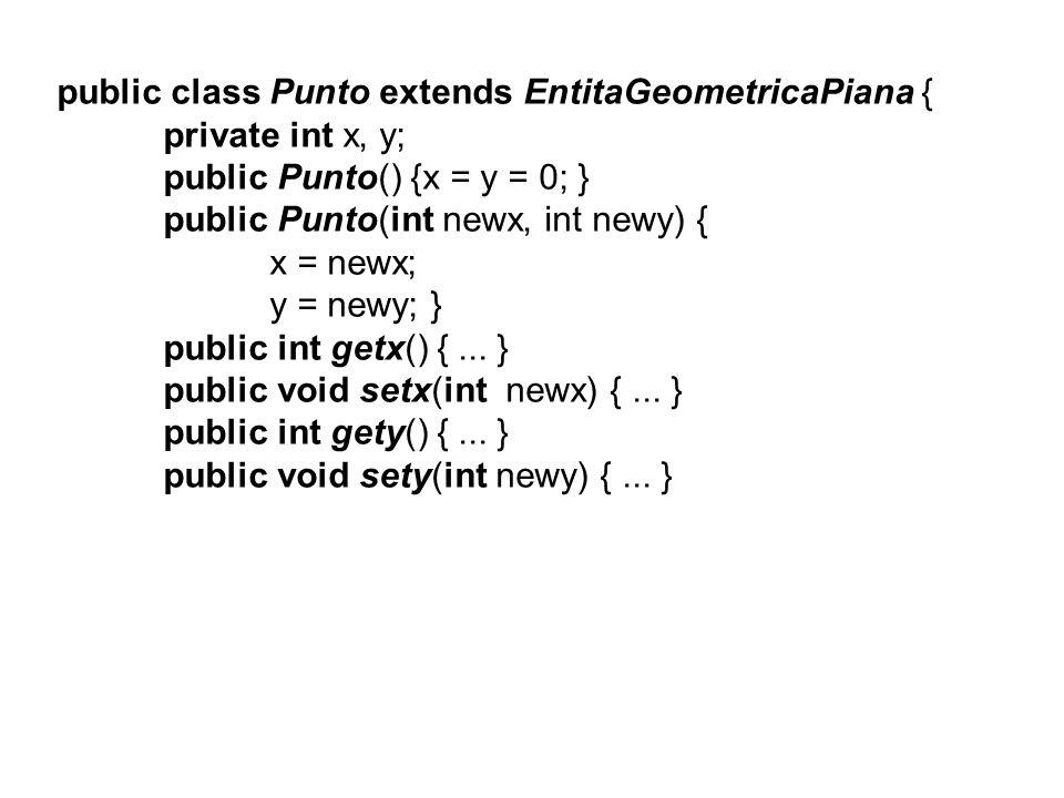 public boolean equals(Punto p) { if ((x==p.x)&&(y==p.y)) return true; return false; } public void sommaVett(Punto vett) { x = x + vett.getx(); y = y + vett.gety(); } public void trasla(Punto nuovoCentro) { x = nuovoCentro.getx(); y = nuovoCentro.gety(); } public String toString() { …..} }