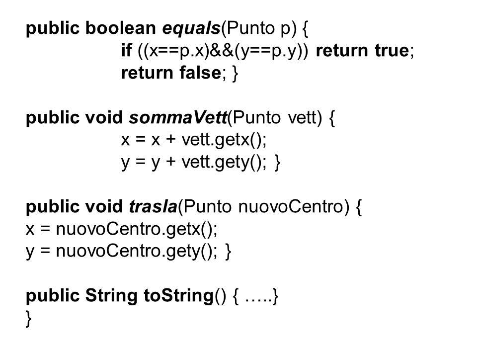 public abstract class Poligono extends EntitaGeometricaPiana { private int num_lati; public Poligono(int lati){ num_lati = lati;} protected double lato(Punto a, Punto b) { double temp = Math.sqrt((b.gety()-a.gety())* (b.gety()-a.gety())+(b.getx()-a.getx())* (b.getx()-a.getx())); return temp; } public void stampa() { System.out.println( \nSono un poligono generico ); } }