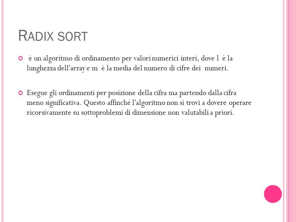R ADIX SORT è un algoritmo di ordinamento per valori numerici interi, dove l è la lunghezza dell'array e m è la media del numero di cifre dei numeri.