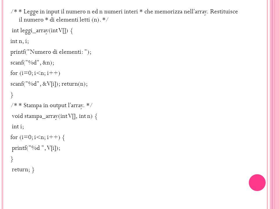 /* * Legge in input il numero n ed n numeri interi * che memorizza nell'array. Restituisce il numero * di elementi letti (n). */ int leggi_array(int V