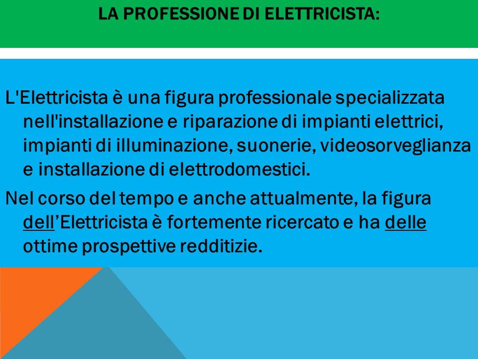 LA PROFESSIONE DI ELETTRICISTA: L Elettricista è una figura professionale specializzata nell installazione e riparazione di impianti elettrici, impianti di illuminazione, suonerie, videosorveglianza e installazione di elettrodomestici.
