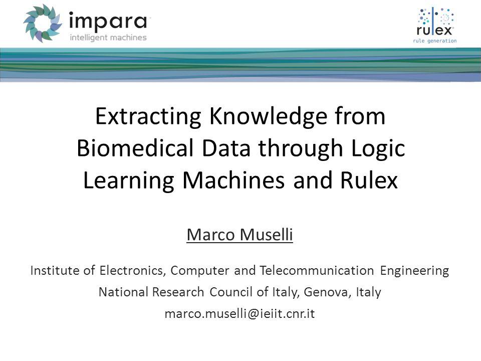 Marco Muselli12 ___ ____ ___ __________ _____ ___ _____ _____ ______ ______ _______ ____ _______ _____ _______ Fare clic per modificare stili del testo dello schema Secondo livello Terzo livello Quarto livello Quinto livello NETTAB 2012 Conclusions A new suite, called Rulex, for the analysis of biomedical datasets through conventional and advanced machine learning techniques has been presented.