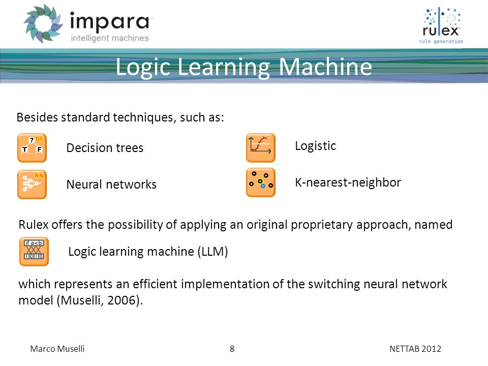 Marco Muselli8 ___ ____ ___ __________ _____ ___ _____ _____ ______ ______ _______ ____ _______ _____ _______ Fare clic per modificare stili del testo dello schema Secondo livello Terzo livello Quarto livello Quinto livello NETTAB 2012 Logic Learning Machine Besides standard techniques, such as: Rulex offers the possibility of applying an original proprietary approach, named Decision trees Neural networks Logistic K-nearest-neighbor which represents an efficient implementation of the switching neural network model (Muselli, 2006).