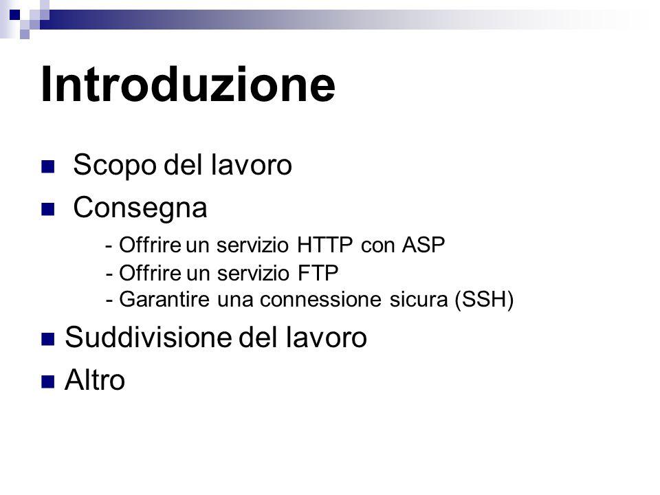 Introduzione Scopo del lavoro Consegna - Offrire un servizio HTTP con ASP - Offrire un servizio FTP - Garantire una connessione sicura (SSH) Suddivisione del lavoro Altro