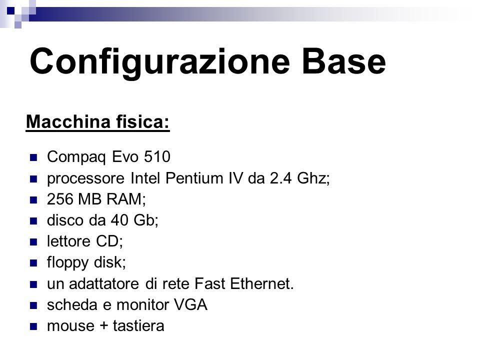 Configurazione Base Compaq Evo 510 processore Intel Pentium IV da 2.4 Ghz; 256 MB RAM; disco da 40 Gb; lettore CD; floppy disk; un adattatore di rete Fast Ethernet.