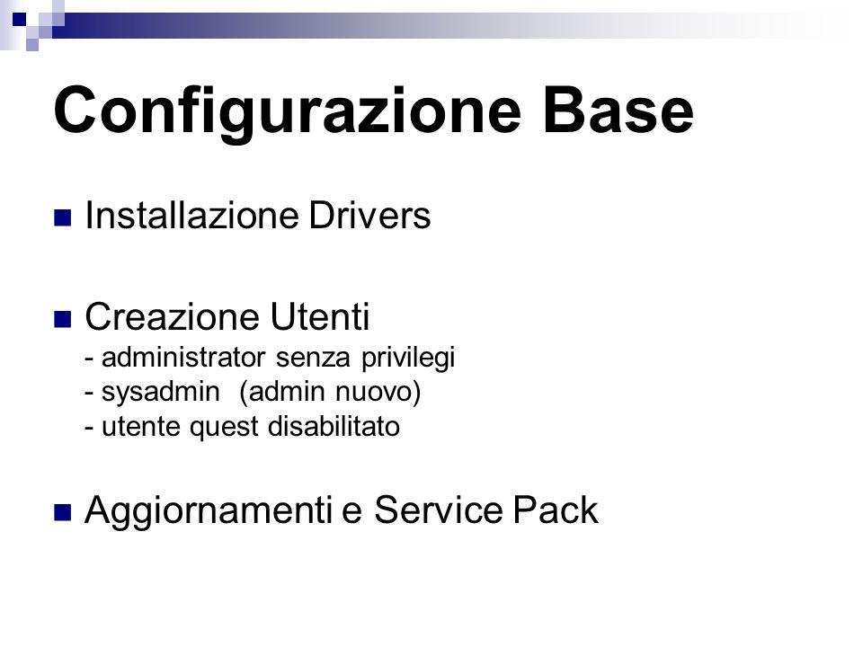 Installazione Drivers Creazione Utenti - administrator senza privilegi - sysadmin (admin nuovo) - utente quest disabilitato Aggiornamenti e Service Pack Configurazione Base