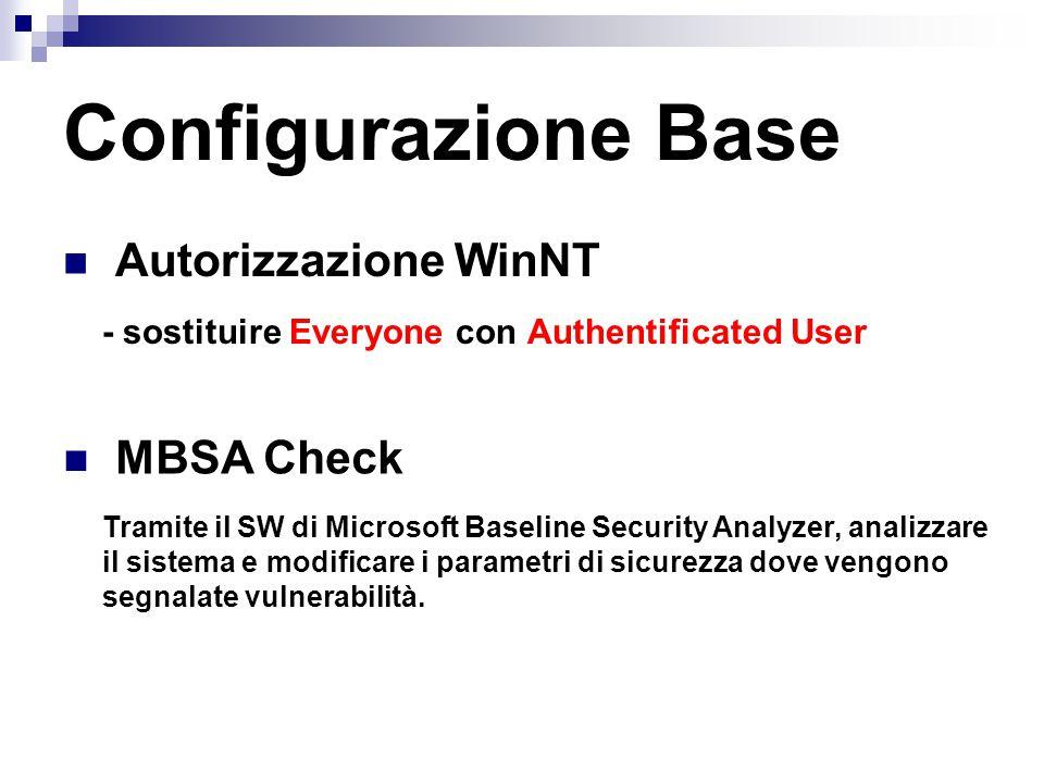 Autorizzazione WinNT - sostituire Everyone con Authentificated User Configurazione Base MBSA Check Tramite il SW di Microsoft Baseline Security Analyz
