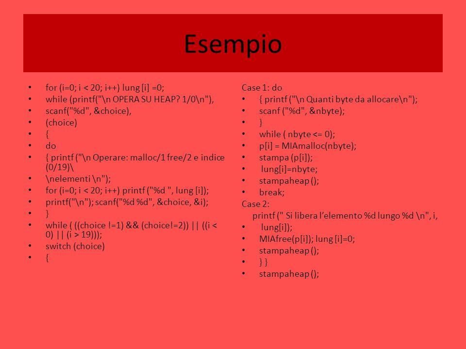 Esempio for (i=0; i < 20; i++) lung [i] =0; while (printf(