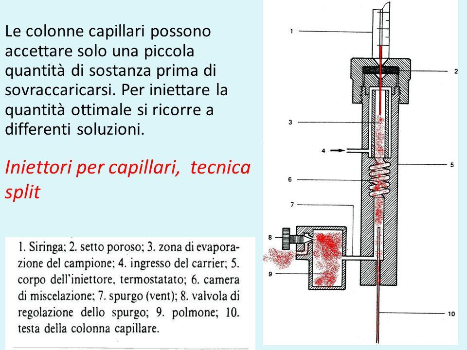 33 Le colonne capillari possono accettare solo una piccola quantità di sostanza prima di sovraccaricarsi. Per iniettare la quantità ottimale si ricorr