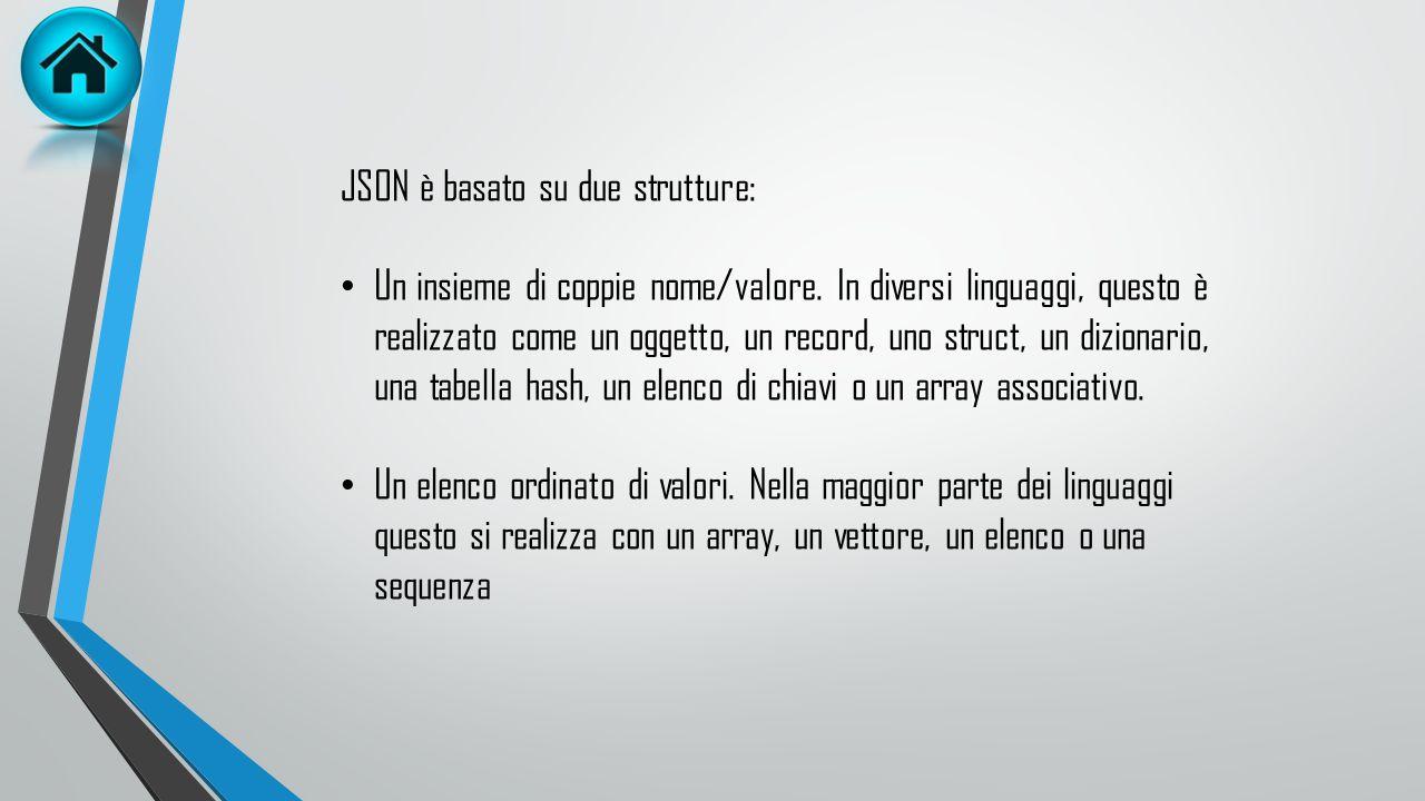 JSON è un formato di testo completamente indipendente dal linguaggio di programmazione, ma utilizza convenzioni conosciute da linguaggi come C, C++, J
