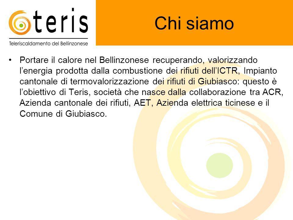 Chi siamo Portare il calore nel Bellinzonese recuperando, valorizzando l'energia prodotta dalla combustione dei rifiuti dell'ICTR, Impianto cantonale di termovalorizzazione dei rifiuti di Giubiasco: questo è l'obiettivo di Teris, società che nasce dalla collaborazione tra ACR, Azienda cantonale dei rifiuti, AET, Azienda elettrica ticinese e il Comune di Giubiasco.