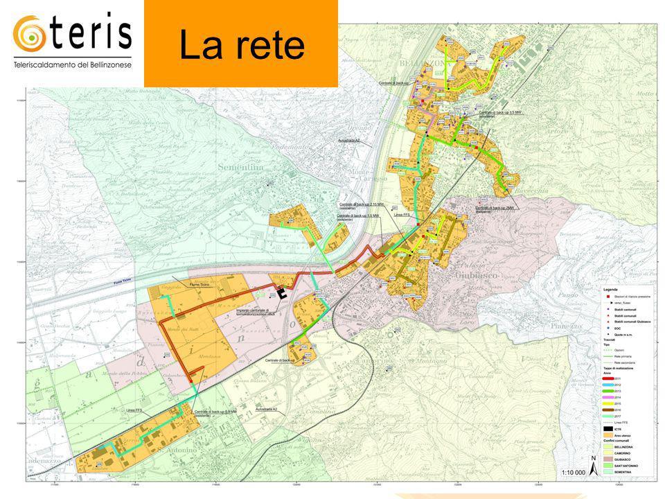 La rete 2 Rete Lunghezza totale [km] Consumo utenze [MWh/a] Potenza utenze [MW] Rete nord: Bellinzona, Giubiasco, Sementina Temp.