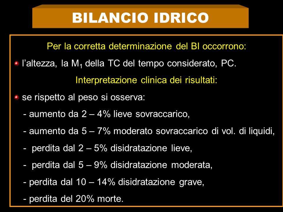 BILANCIO IDRICO Per la corretta determinazione del BI occorrono: l'altezza, la M 1 della TC del tempo considerato, PC.