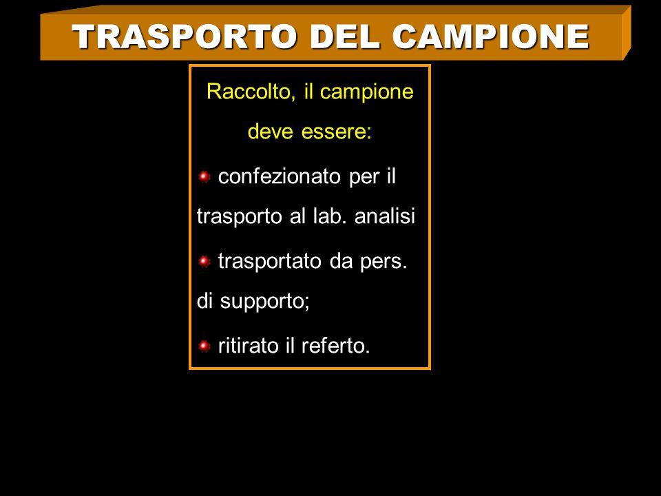 TRASPORTO DEL CAMPIONE Raccolto, il campione deve essere: confezionato per il trasporto al lab.