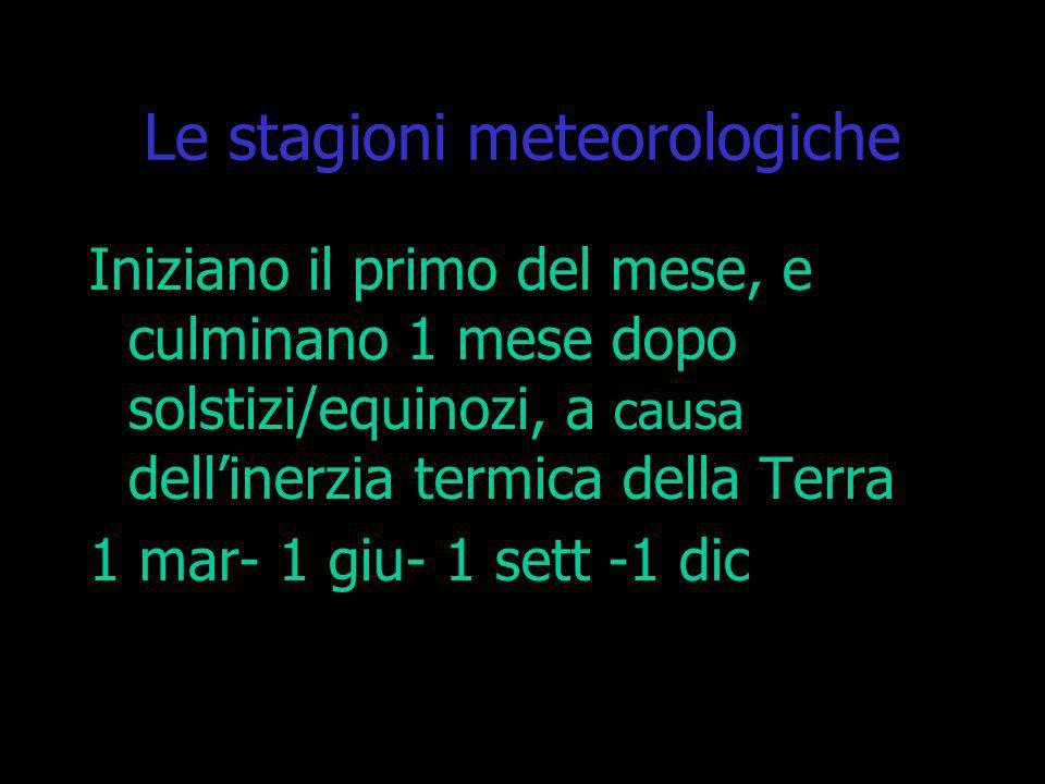 Le stagioni meteorologiche Iniziano il primo del mese, e culminano 1 mese dopo solstizi/equinozi, a causa dell'inerzia termica della Terra 1 mar- 1 gi