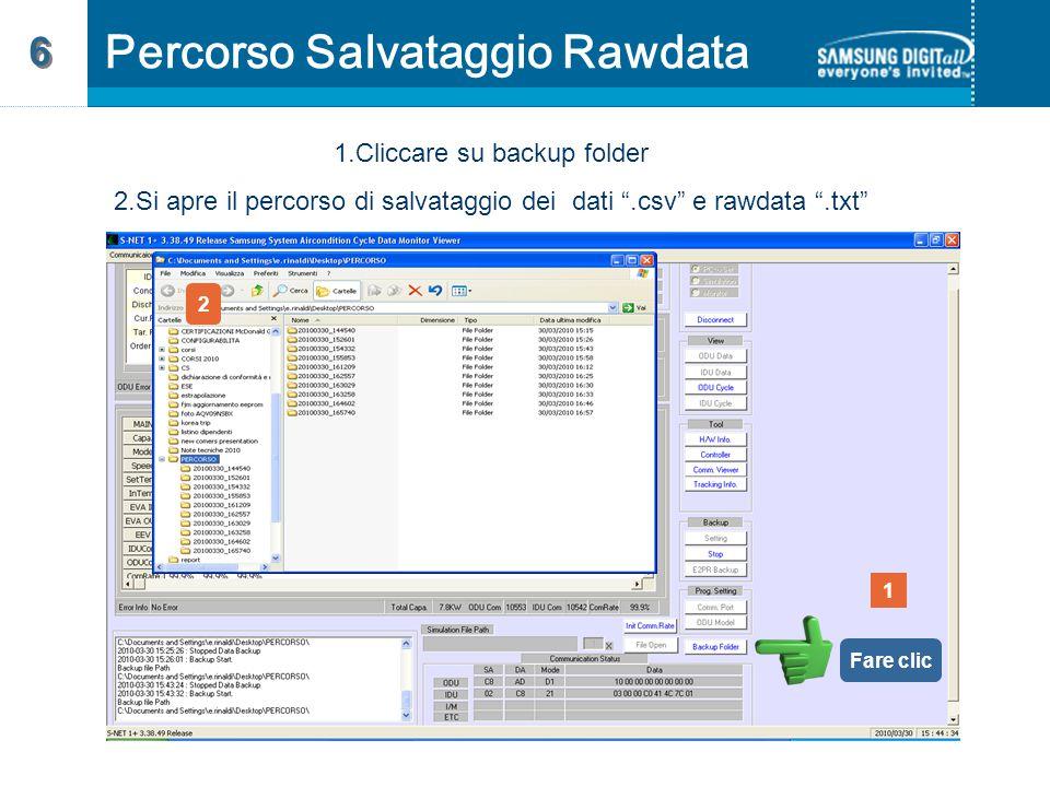 1.Cliccare su backup folder 2.Si apre il percorso di salvataggio dei dati .csv e rawdata .txt 1 2 Fare clic Percorso Salvataggio Rawdata 6 6