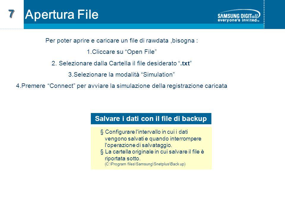 Apertura File 7 7 Per poter aprire e caricare un file di rawdata,bisogna : 1.Cliccare su Open File 2.