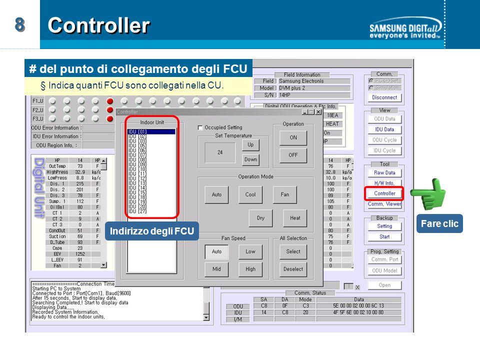 Indirizzo degli FCU # del punto di collegamento degli FCU § Indica quanti FCU sono collegati nella CU.