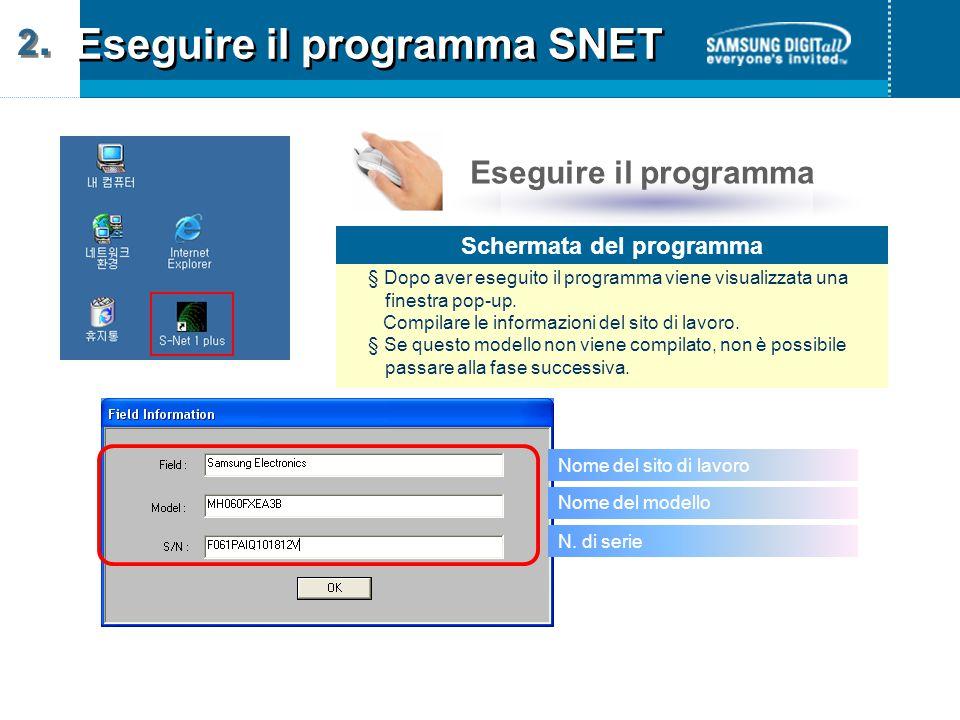 Eseguire il programma SNET 2.2.2.2.