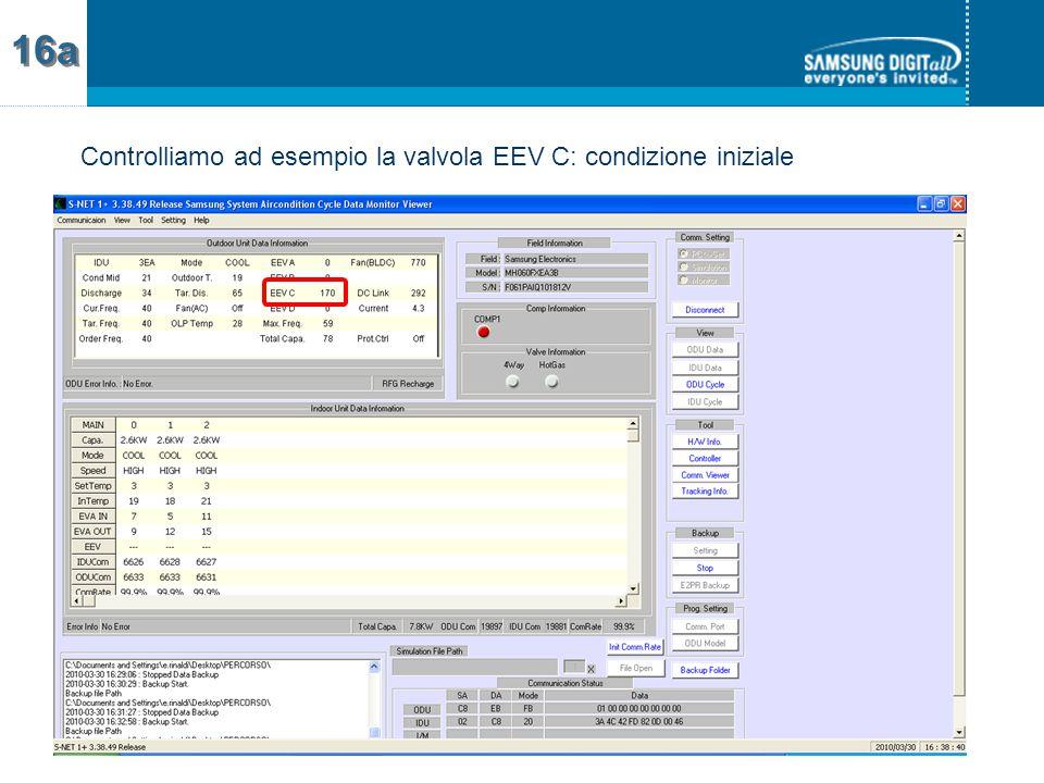 Controlliamo ad esempio la valvola EEV C: condizione iniziale 16a