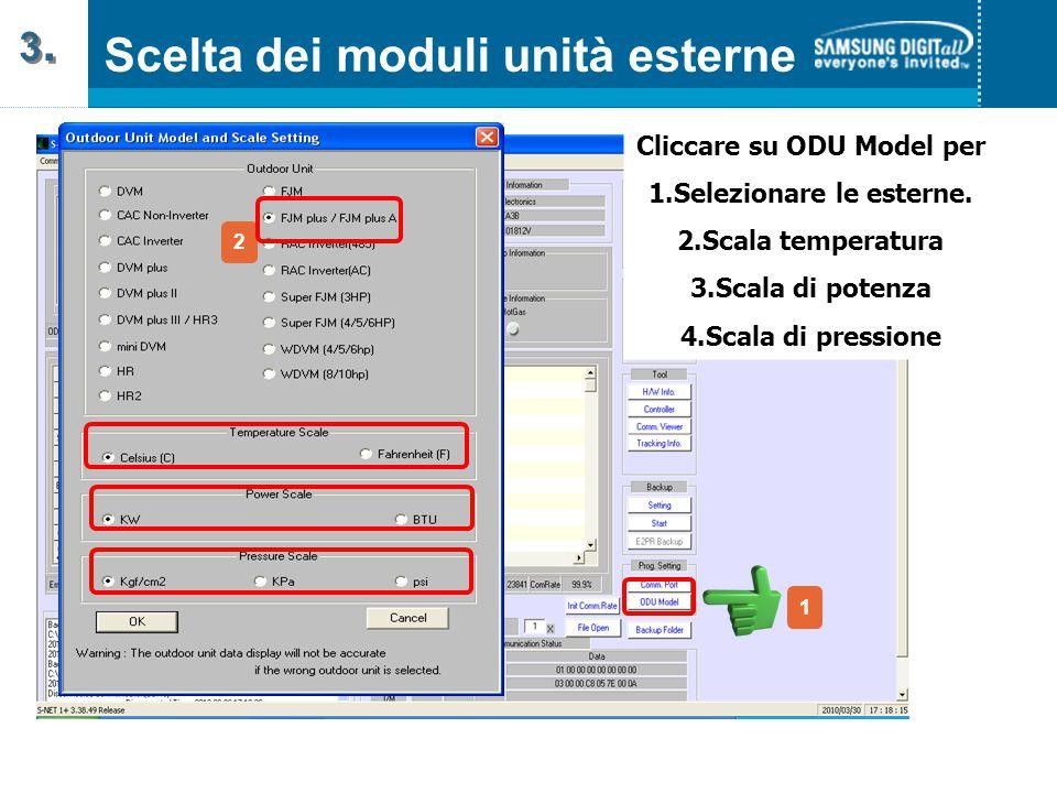 Cliccare su ODU Model per 1.Selezionare le esterne.