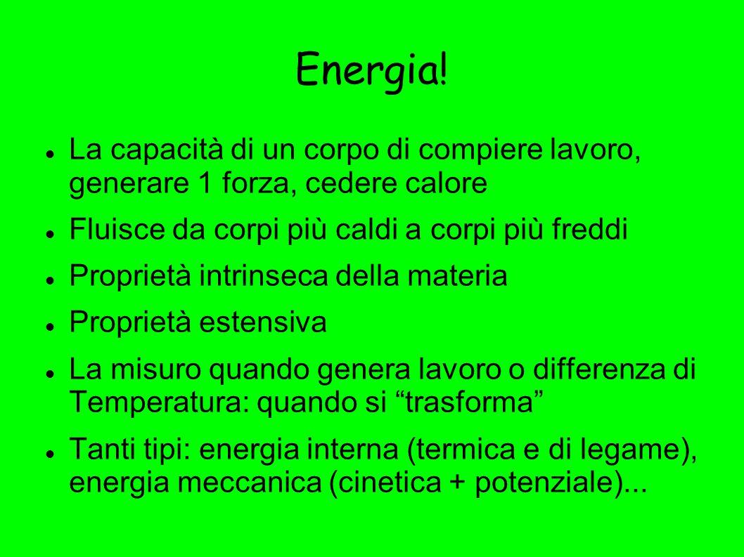 Energia! La capacità di un corpo di compiere lavoro, generare 1 forza, cedere calore Fluisce da corpi più caldi a corpi più freddi Proprietà intrinsec