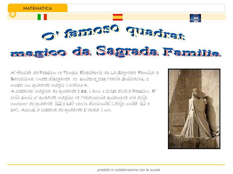 A' facciat da Passion ro Templo Eixpiatorio de La Sagrada Familia a Barcellona, vnett diseganta ro scultore Josp Maria Subirachs, e mostr nu quadrat m