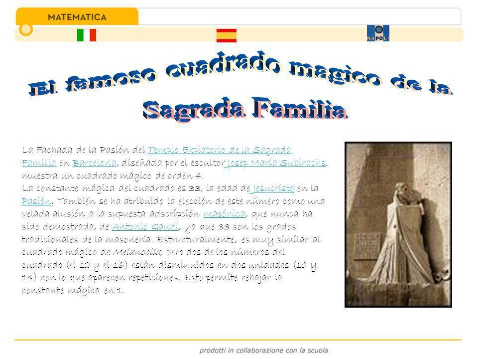 La Fachada de la Pasión del Templo Expiatorio de la Sagrada Familia en Barcelona, diseñada por el escultor Josep María Subirachs, muestra un cuadrado