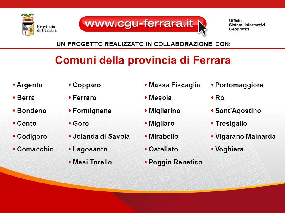 UN PROGETTO REALIZZATO IN COLLABORAZIONE CON: Comuni della provincia di Ferrara Argenta Berra Bondeno Cento Codigoro Comacchio Copparo Ferrara Formign