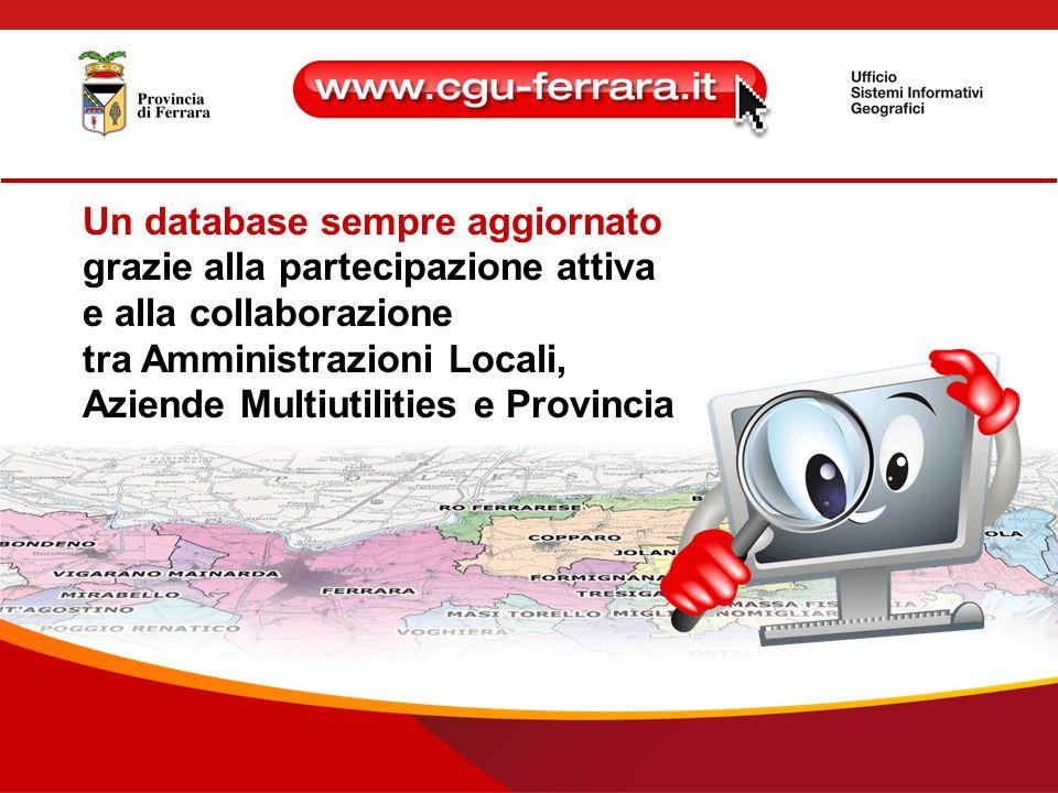 Un database sempre aggiornato grazie alla partecipazione attiva e alla collaborazione tra Amministrazioni Locali, Aziende Multiutilities e Provincia