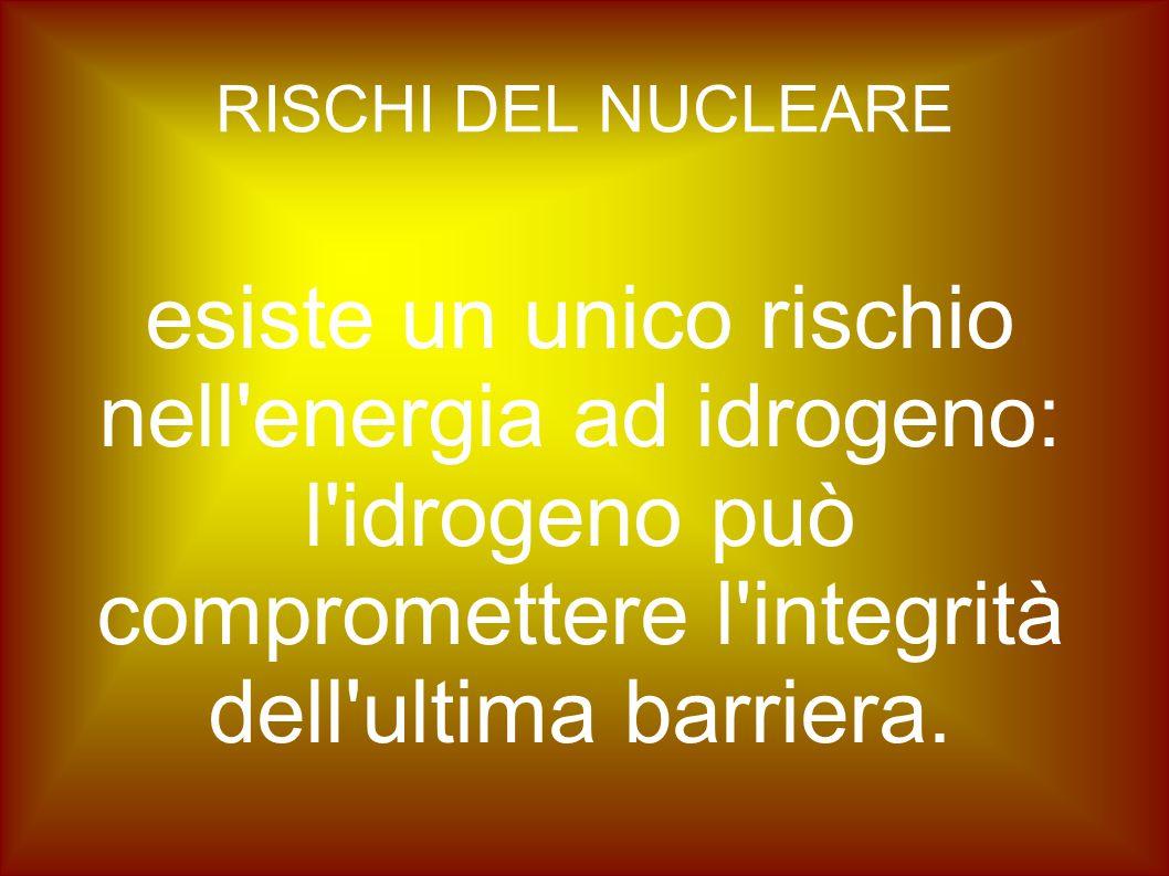 RISCHI DEL NUCLEARE esiste un unico rischio nell'energia ad idrogeno: l'idrogeno può compromettere l'integrità dell'ultima barriera.