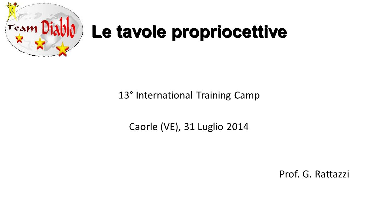 Le tavole propriocettive 13° International Training Camp Caorle (VE), 31 Luglio 2014 Prof.