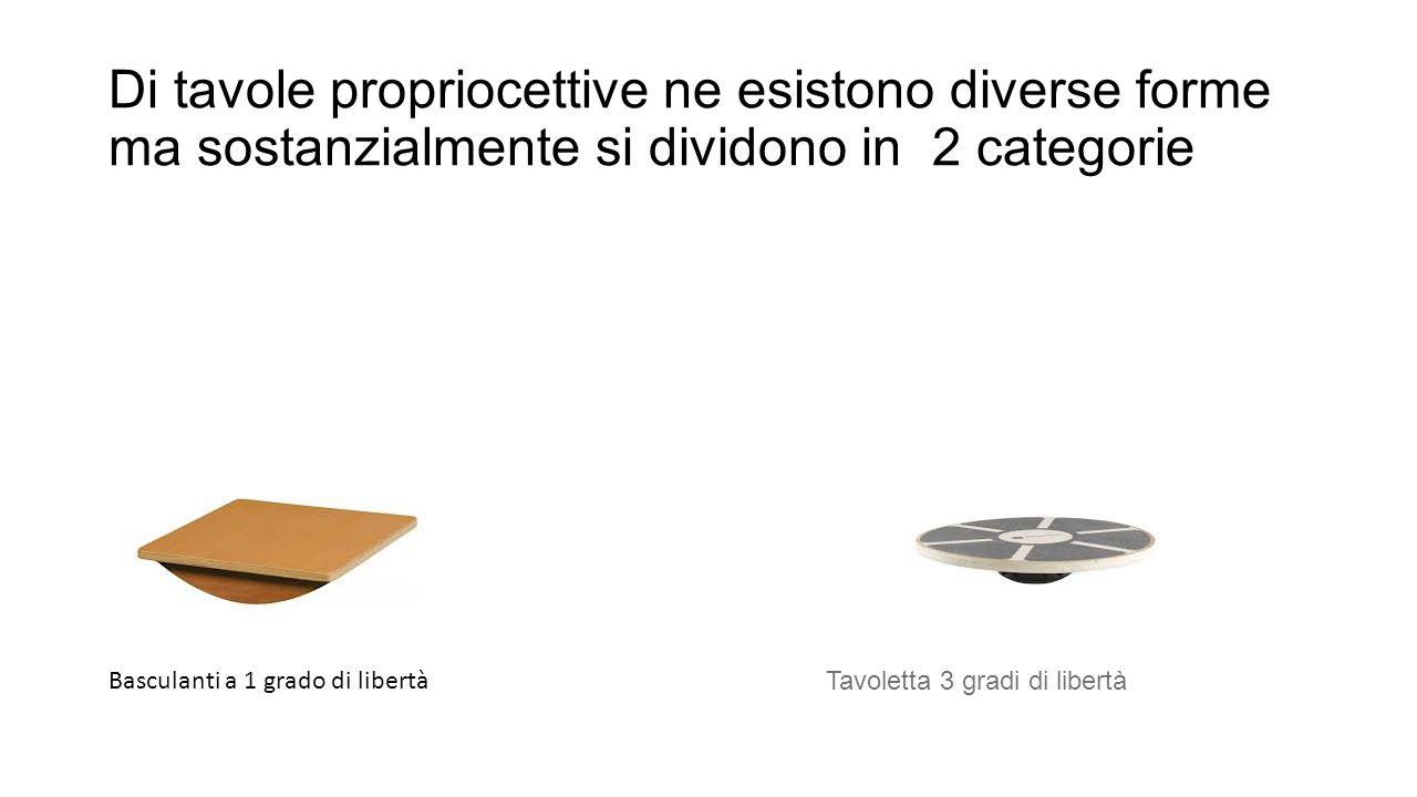 Di tavole propriocettive ne esistono diverse forme ma sostanzialmente si dividono in 2 categorie Basculanti a 1 grado di libertà Tavoletta 3 gradi di