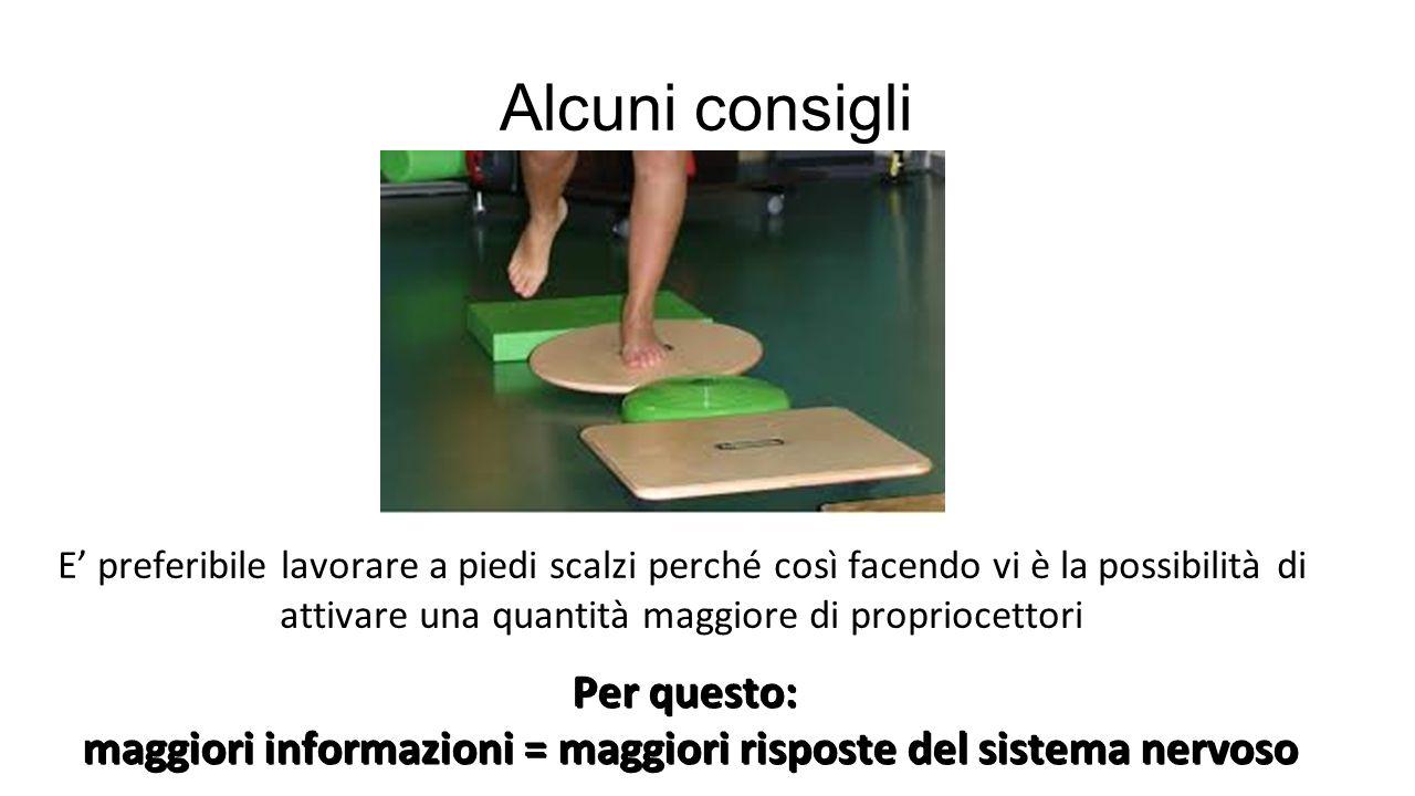 Alcuni consigli E' preferibile lavorare a piedi scalzi perché così facendo vi è la possibilità di attivare una quantità maggiore di propriocettori Per