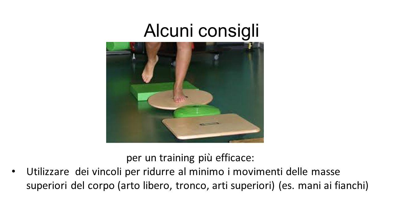 per un training più efficace: Utilizzare dei vincoli per ridurre al minimo i movimenti delle masse superiori del corpo (arto libero, tronco, arti supe