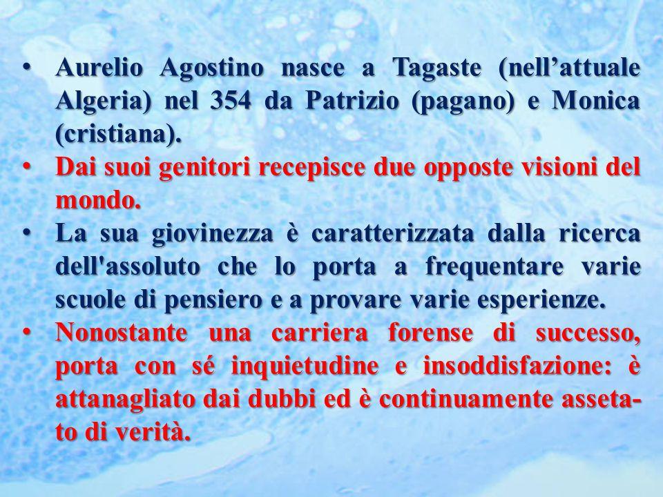 Aurelio Agostino nasce a Tagaste (nell'attuale Algeria) nel 354 da Patrizio (pagano) e Monica (cristiana).