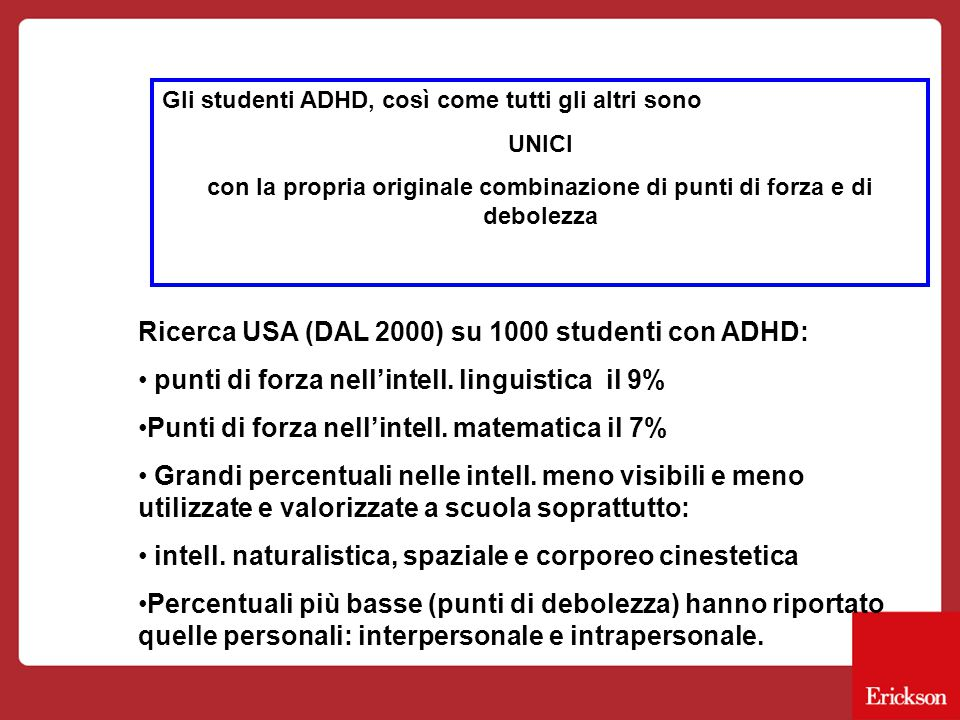Gli studenti ADHD, così come tutti gli altri sono UNICI con la propria originale combinazione di punti di forza e di debolezza Ricerca USA (DAL 2000) su 1000 studenti con ADHD: punti di forza nell'intell.