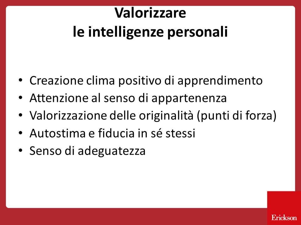 Valorizzare le intelligenze personali Creazione clima positivo di apprendimento Attenzione al senso di appartenenza Valorizzazione delle originalità (punti di forza) Autostima e fiducia in sé stessi Senso di adeguatezza