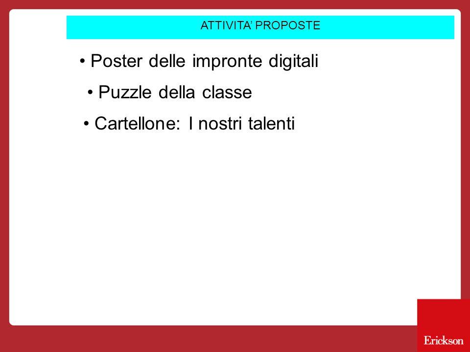 ATTIVITA' PROPOSTE Poster delle impronte digitali Puzzle della classe Cartellone: I nostri talenti