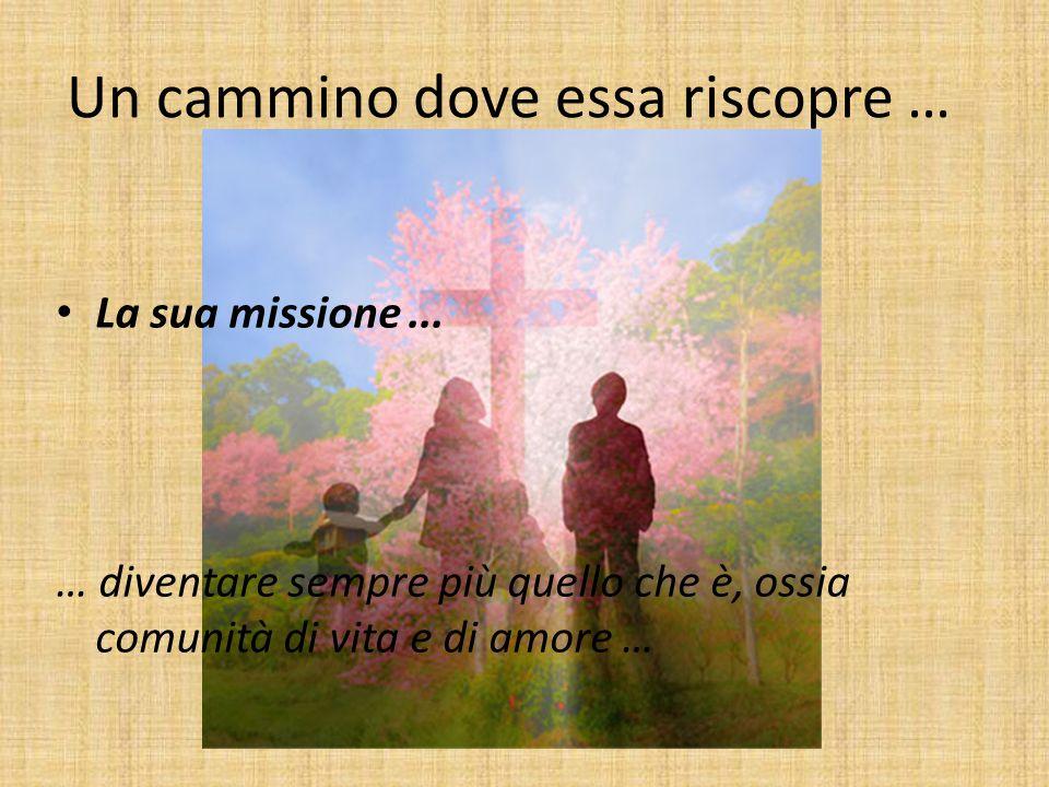 Un cammino dove essa riscopre … La sua missione... … diventare sempre più quello che è, ossia comunità di vita e di amore …