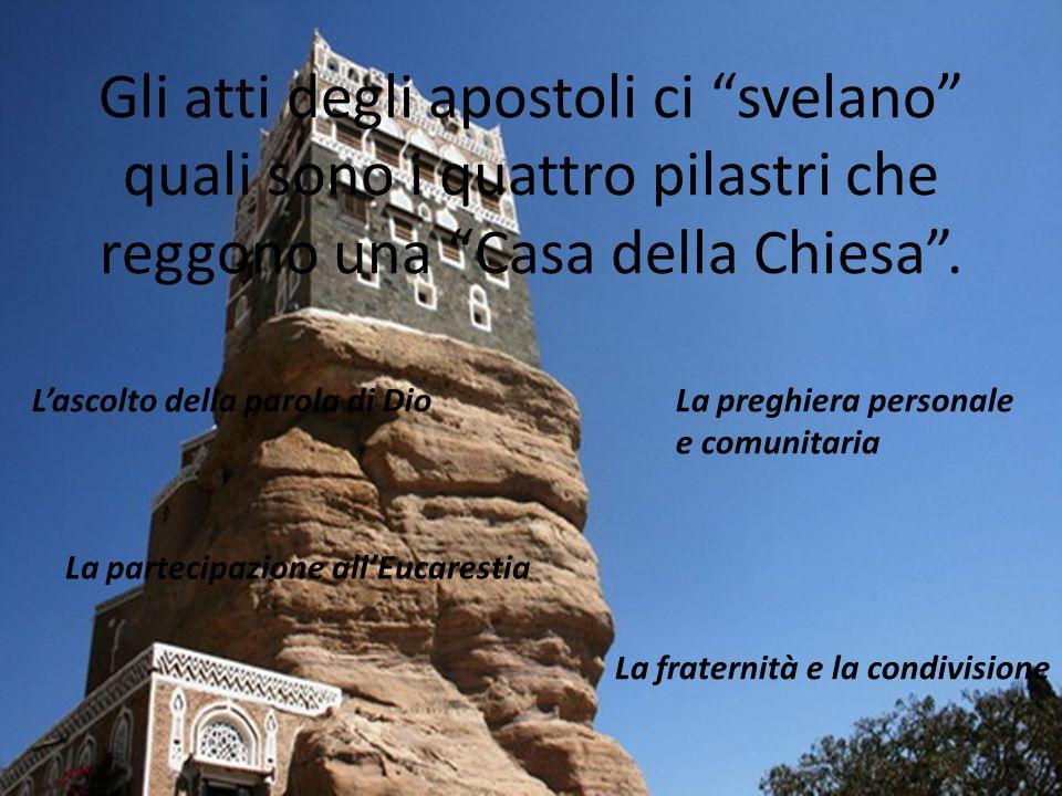 """Gli atti degli apostoli ci """"svelano"""" quali sono i quattro pilastri che reggono una """"Casa della Chiesa"""". L'ascolto della parola di DioLa preghiera pers"""