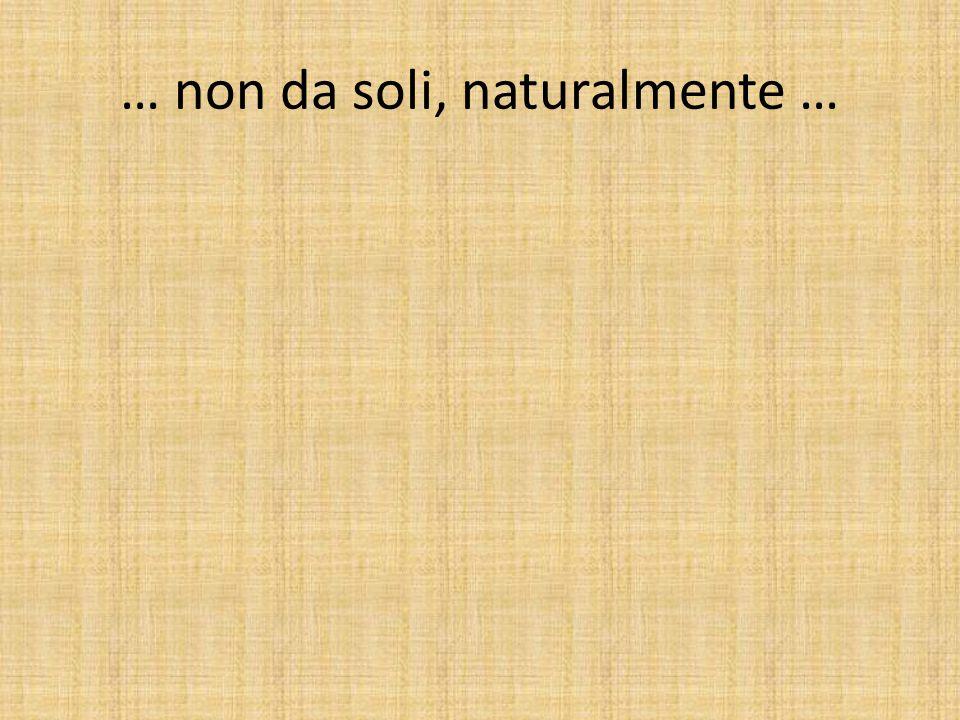 … non da soli, naturalmente …